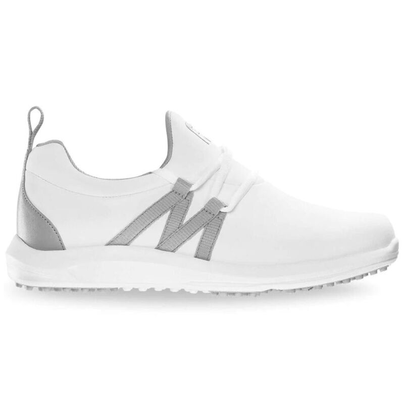 FootJoy Ladies Leisure Slip-On Spikeless Golf Shoes - White/Gray