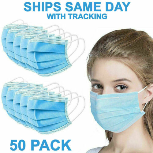 50 PCS Face Mask Non Medical Surgical Disposable 3-Ply Earloop Mouth Cover