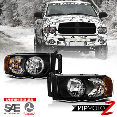 2002-2005 Dodge Ram 1500 2500 3500 HARLEY STYLE Pair Black Headlights Headlamps