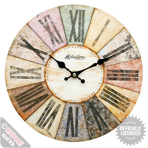 Vintage wall clock - wooden shabby chic Woolston design - large
