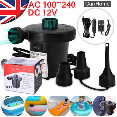 Electric Air Pump Inflator for Inflatables Camping Bed pool 240V/12V Car Home UK