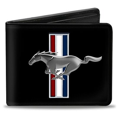 Leather style PU wallet Ford Mustang Tribar logo billfold great xmas gift!