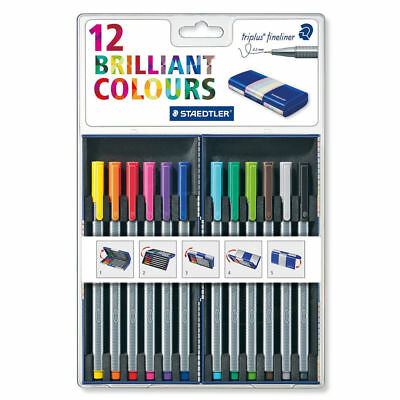 Staedtler Triplus Fineliner 12 Brilliant Multi Colors 0.3mm with Case (334 MB12)
