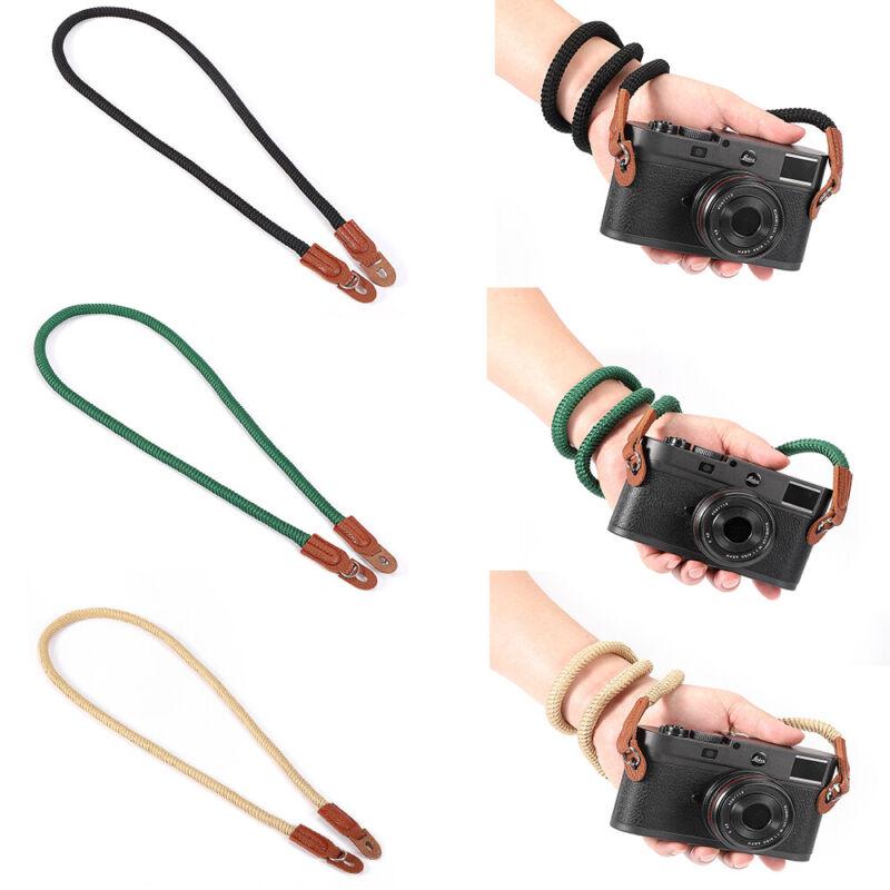 Cotton Rope Camera Neck Strap Vintage Shoulder Strap Leather Lanyard for DSLR