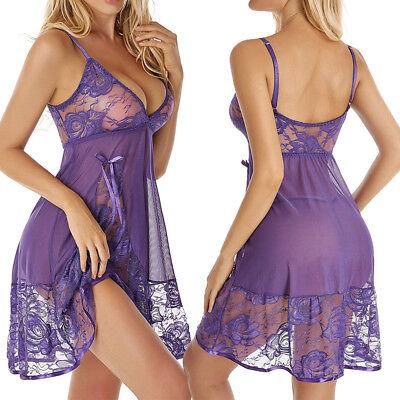 Purple Women Lingerie Lace Babydoll V Neck Sleepwear Strap Chemise Nightwear - Lace Chemises