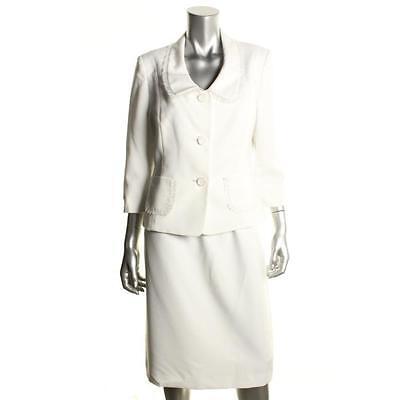 $200 Le Suit Boboli Gardens Wfite Ruffled Collar 3/4 Sleeves Skirt Suit Sz 10