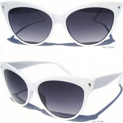 OVERSIZE CAT EYE WHITE FRAME SUNGLASSES Retro Fashion Design Sexy Sunnies (Cat Eye White)