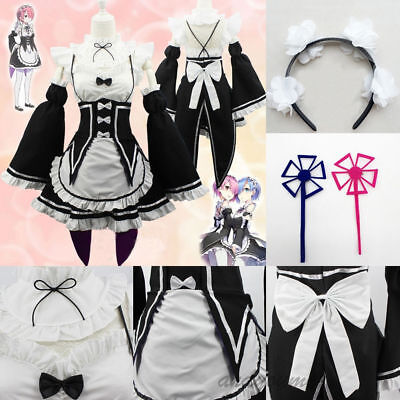 Anime Re:Zero Kara Hajimeru Isekai Seikatsu Ram Rem Kostüme Maid Kleid Cosplay