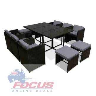 Capetown Dining 10 Seater Set - Black/ Grey with Waterproof Cover
