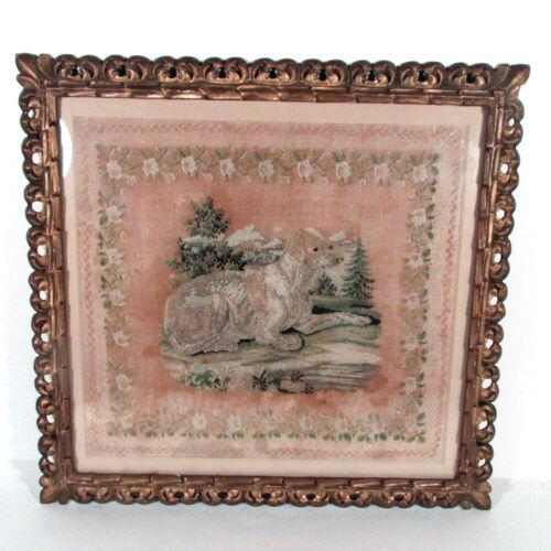 Antique Victorian Dog Needlework in Frame