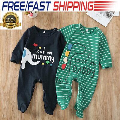 US Newborn Infant Kids Baby Boy Girl Romper Bodysuit Jumpsuit Clothes Outfits