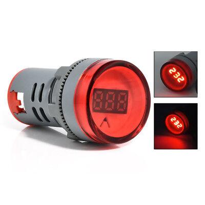 Ac60-500v Red Led Voltmeter Voltage Meter Indicator Pilot Light Diy Gray 22mm