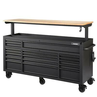 Tool Chest Work Bench Cabinet Adjustable Wood Top 72 in Rolling Garage Storage Chest Wood Top