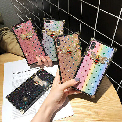 For iPhone 11 Pro XS Max XR 8 Bling Glitter Heart Diamond Bee Square Case Cover