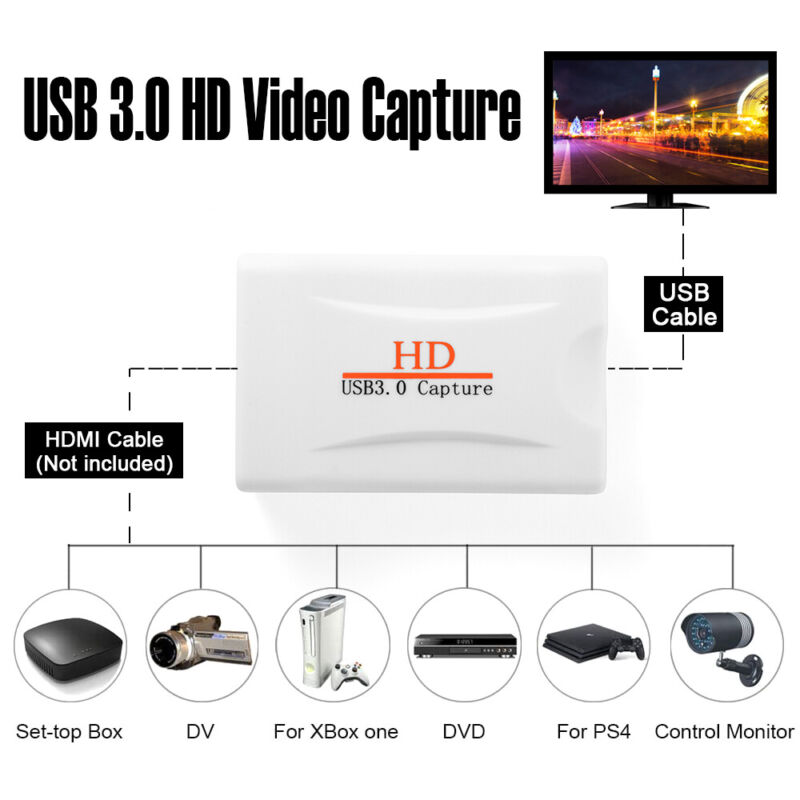 USB 3.0 Full HD HDMI Video Capture Card UVC Standard Plug and Play White AH790