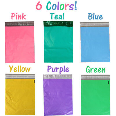 10x13 Pink Teal Purple Blue Yellow Green Poly Mailers Flat Shipping Bags Combo