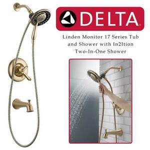 NEW Delta T17494-CZ-I Linden Monitor 17 Series Tub and Shower with In2Ition Two-In-One Shower, Champagne Bronze Condt...