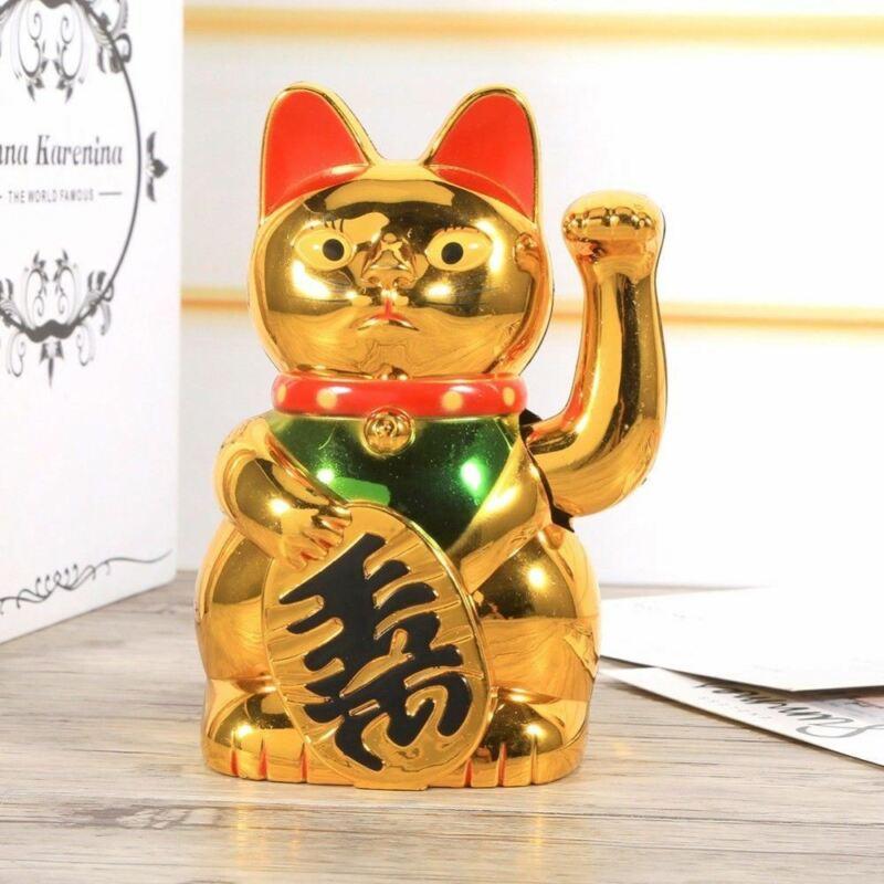Chinese Lucky Wealth Waving Cat Gold Waving Hand Cat Feng-Shui Lucky Cats Home D