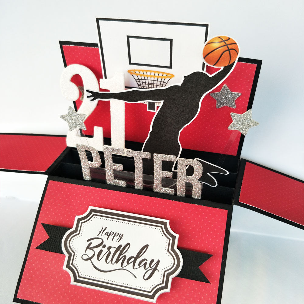 Handmade Name & age Personalised birthday card, basketball birthday card