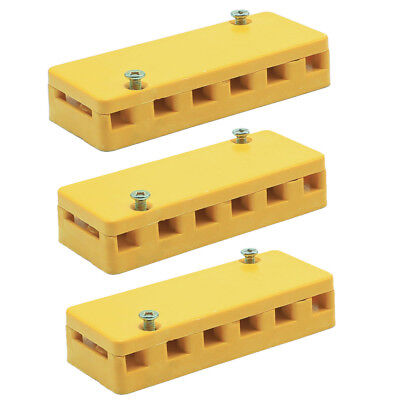 3pcs General Electric Terminal Block Board 40a 6 Position Yellow Boxes