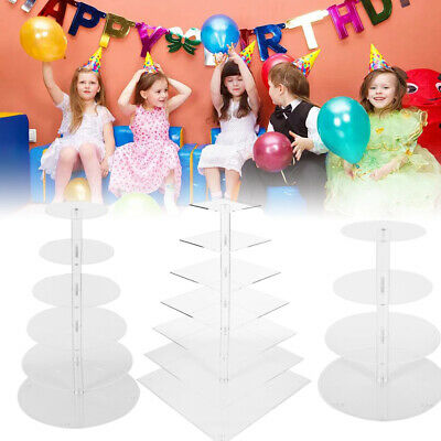 5/7 Tier Circle Round Acrylic Wedding Party Cupcake Stand Holder Display Rack US