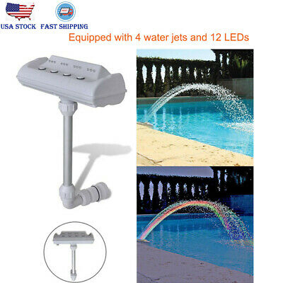 Cascade Waterfall Swimming Pool Fountain Jets LED Lights Colorful Above Ground