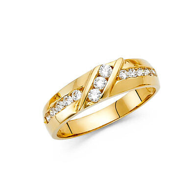 Men 14k Yellow Real Gold Channel Round CZ Machine Wedding Engagement Ring Band