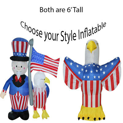 4th of July Inflatable Yard Decoration Uncle Sam Eagle American Flag - 4th July Decorations