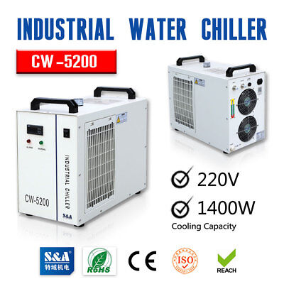 Us Stock 220v Sa Industrial Water Chiller Cw-5200bh For 130-150w Co2 Laser Tube