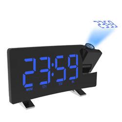 Wake-up Clock Digital  LED Light Time Projection Loud Alarm Clocks with FM B7V5