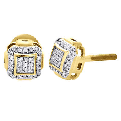 - 10K Yellow Gold Round Diamond Studs Pave Set Domed Square 7mm Earrings 0.15 Ct.