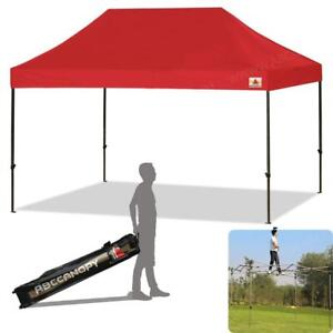 NEW ABCCANOPY 10 x 15 FT Instant Shelter Ez Pop-up Canopy Tent Wheeled Carry Bag (30+ Colors),10x15 Red Condition: New