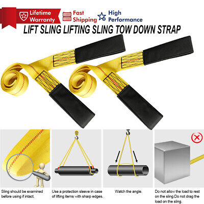 6 X 2 2-ply Nylon Web Sling Lift Tow Strap Heavy Duty Polyester Web Loop Ends