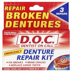 Dentemp Denture Repair Kit - Fix Breaks/Mend Cracks/Replace Loose Teeth *NEW*