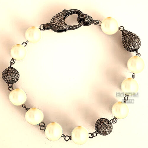 Victorian Inspired 6.07ct Rose Cut Diamond Pearl Studded Silver Bracelet Jewelry