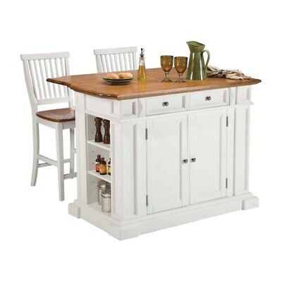 Home Styles Ginormous Kitchen Island Set with 2 Stationary Stools - Antique & Oak,