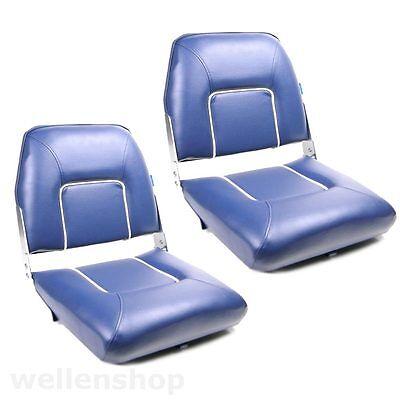 2x Bootssitze Lehne klappbar Steuerstühle Konsolensitz Boot Offshore-Sitz Blau