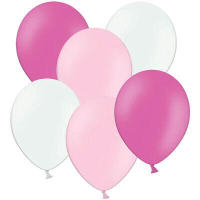 50 / 100 Luftballons zum 1. Geburtstag Ø 28 cm Pink Rosa Weiß Helium Ballons ()