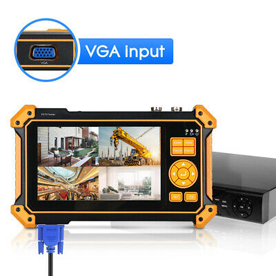 "5"" CCTV Camera Tester AHD TVI CVI SDI Security Monitor Test HDMI VGA 4K H.265"