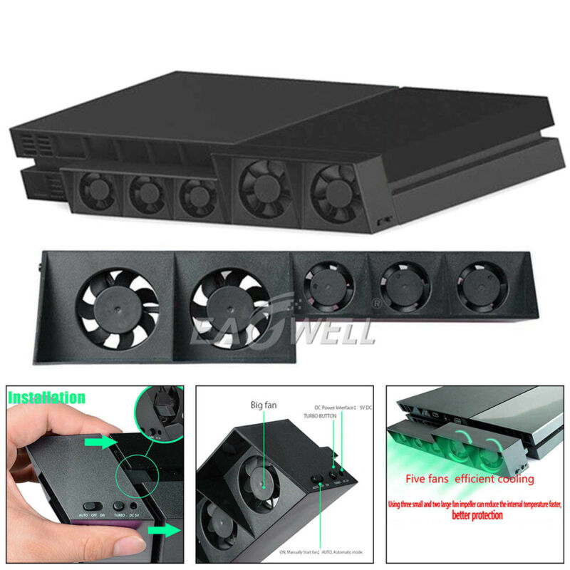 For Playstation PS4 5-Fan USB Cooling External Turbo Temperature Control Cooler
