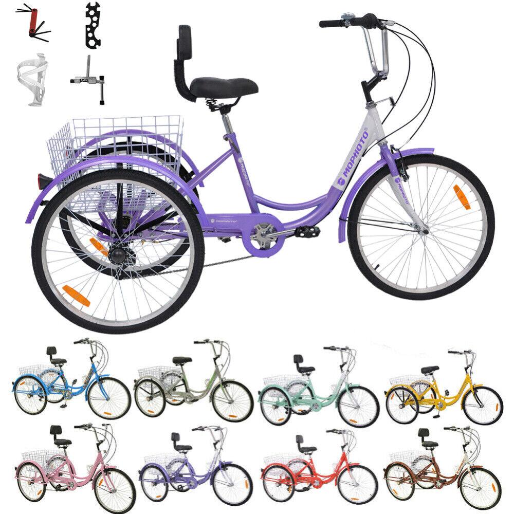 16/20/24/26 inch Adult Teens Tricycle 3-wheel Bike Bicycle M