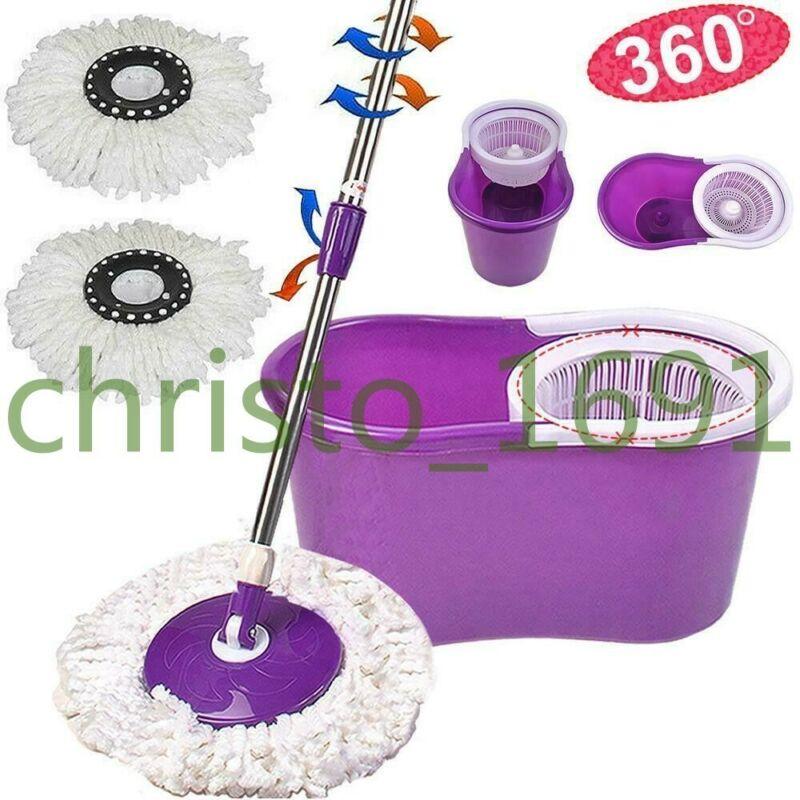 Purple 360 Rotating Magic Mop Microfiber Two Head Bucket Spinning