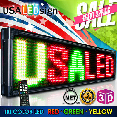 """LED Sign 40"""" X 15"""" Outdoor Programmable Scroll Message Board 3 Color open neon"""