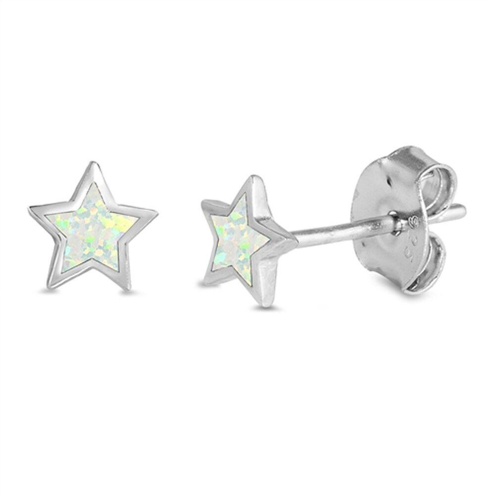 Cute White Opal Star Stud .925 Sterling Silver Earrings