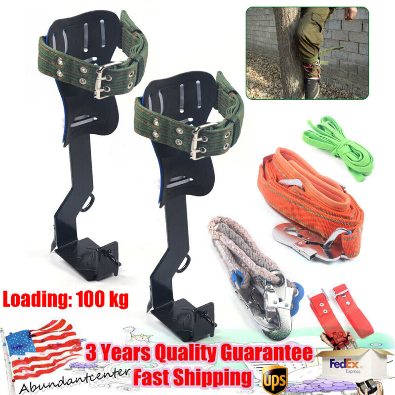 Tree /Pole Climbing Tool Safety Steel Belt Straps Lanyard Carabiner Climb Spike
