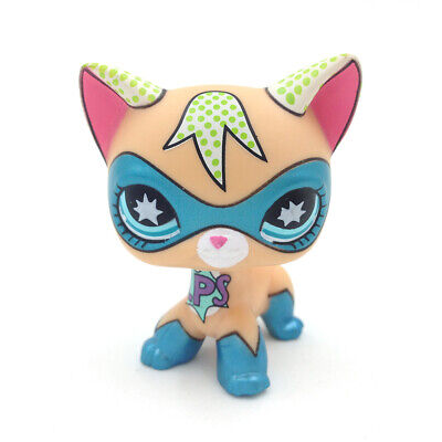 Littlest Pet Shop Masked Super Hero Short Hair Kitty LPS Blue Eyes Cat Comic Con](Blue Superhero)