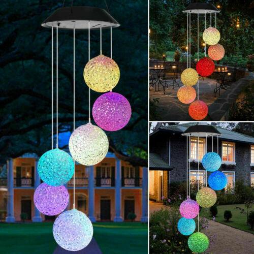 LED Solar Windspiel - inkl 6 Kugeln mit Farbwechsel - Gartendeko Solarleuchte DE