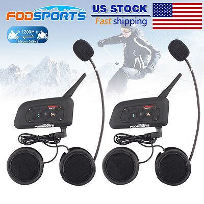 2pcs V6 BT 1200M Motorcycle Helmet Interphone Bluetooth Intercom GPS Headset