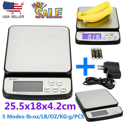 110lb50kg Digital Lcd Postal Shipping Scale Weight Postage Adapter 5 Modes Us
