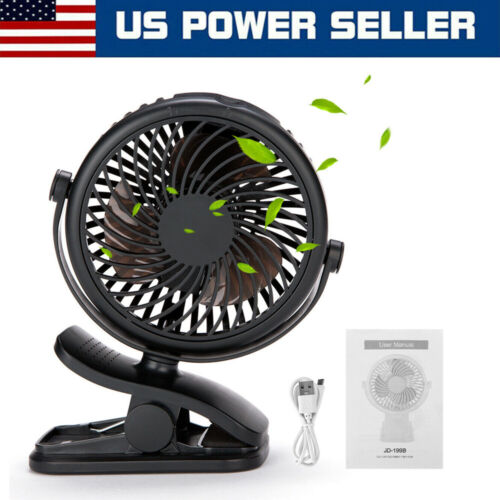 3 Speed Portable USB Rechargeable Cooling Mini Fan Clip On Desk Baby Stroller US